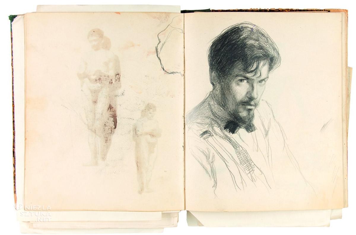 Władysław Jarocki, szkic, autoportret, sztuka polska, Niezła Sztuka