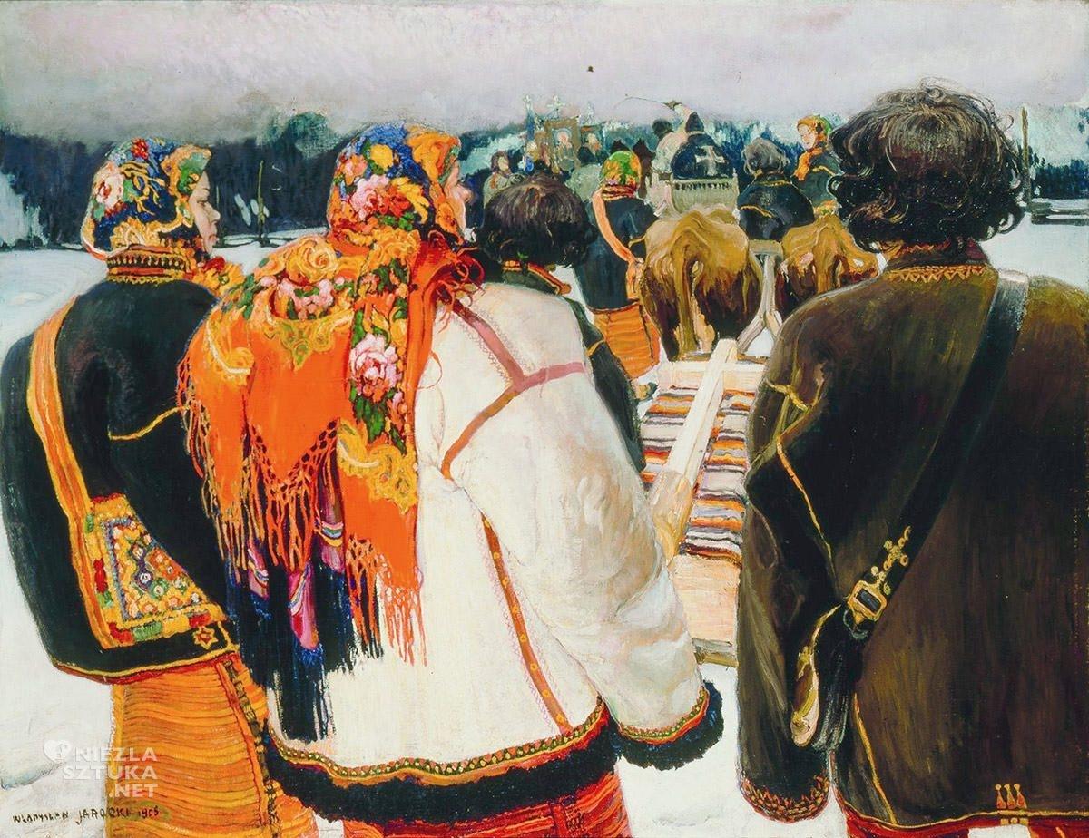 Władysław Jarocki, Pogrzeb huculski, malarstwo polskie, sztuka polska, Niezła Sztuka