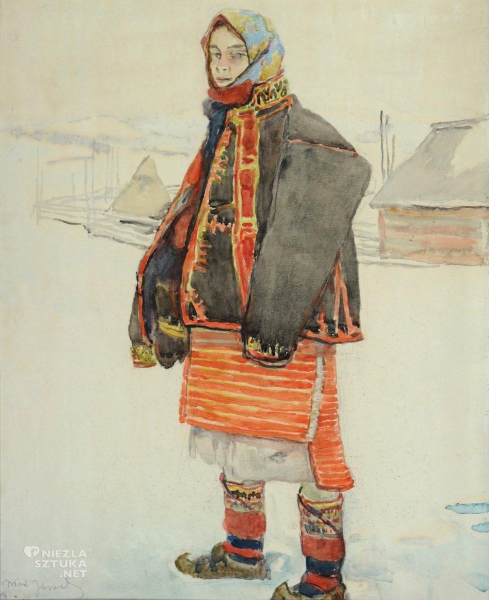Władysław Jarocki, Hucułka, zima, folklor, ludowość, sztuka polska, malarstwo polskie, Niezła Sztuka