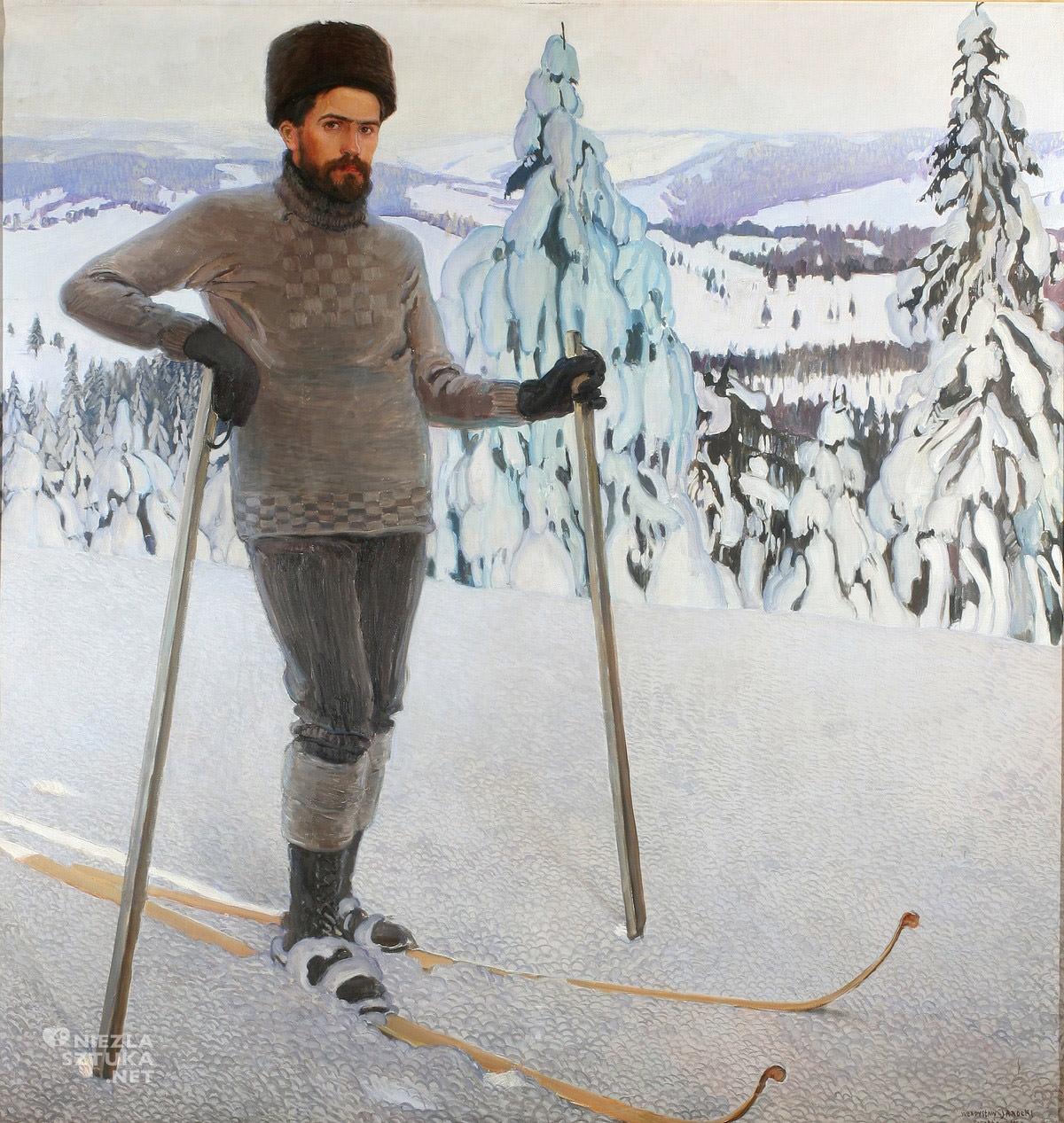 Władysław Jarocki, Autoportret na nartach, zima, góry, malarstwo polskie, sztuka polska, Niezła Sztuka