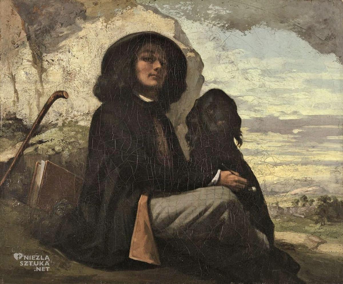 Gustave Courbet, Autoportret z psem, sztuka francuska, malarstwo francuskie, realizm, Niezła sztuka