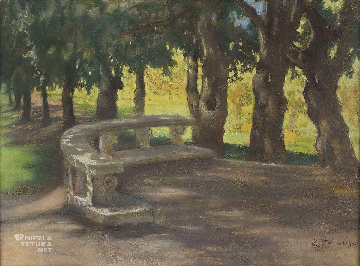 Kazimierz Stabrowski, Aleja dębowa w parku przy Villa Borghese w Rzymie, Włochy, podróże, sztuka polska, Niezła Sztuka