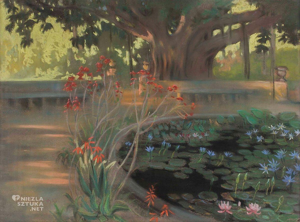 Kazimierz Stabrowski, Lotosy w parku w Palermo, Sycylia, Włochy, podróże, sztuka polska, Niezła Sztuka