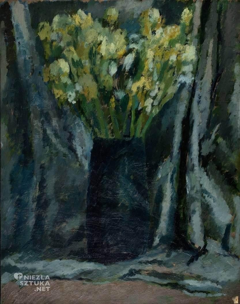 Symcha Trachter, Irysy, kwiaty, martwa natura, malarstwo polskie, żydowski malarz, Niezła Sztuka