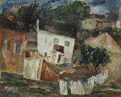 Symcha Trachter, Pejzaż, Kazimierz Dolny, malarstwo polskie, żydowski malarz, Niezła Sztuka