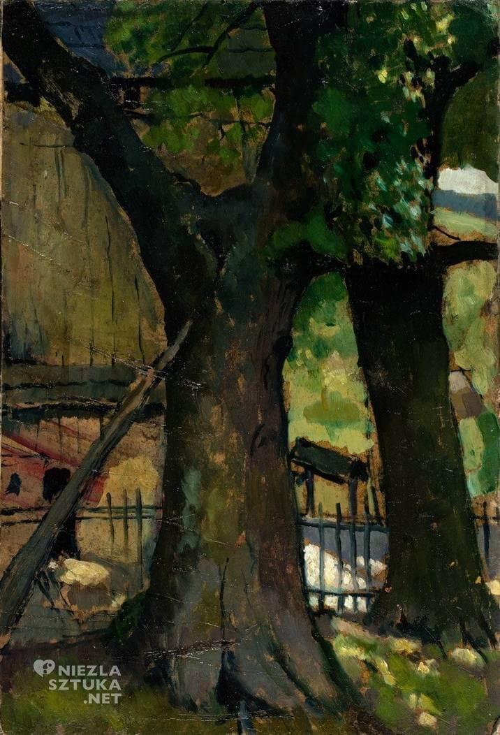 Symcha Trachter, Pejzaż, drzewa, malarstwo polskie, żydowski malarz, Niezła Sztuka