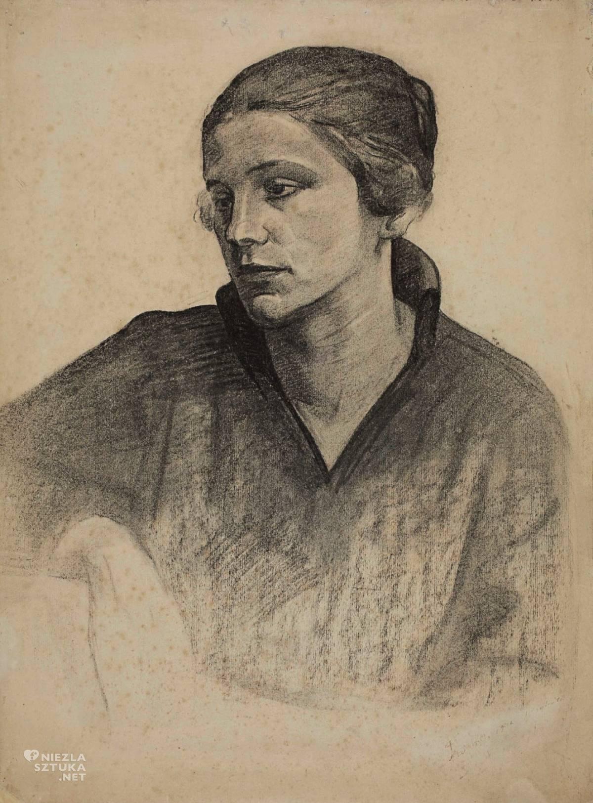Symcha Trachter, Portret Anieli, szkic, sztuka polska, żydowski malarz, Niezła Sztuka