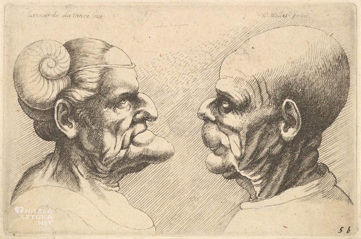Vaclav Hollar, Dwie zdeformowane głowy, karykatura, grafika, Czechy, Niezła Sztuka