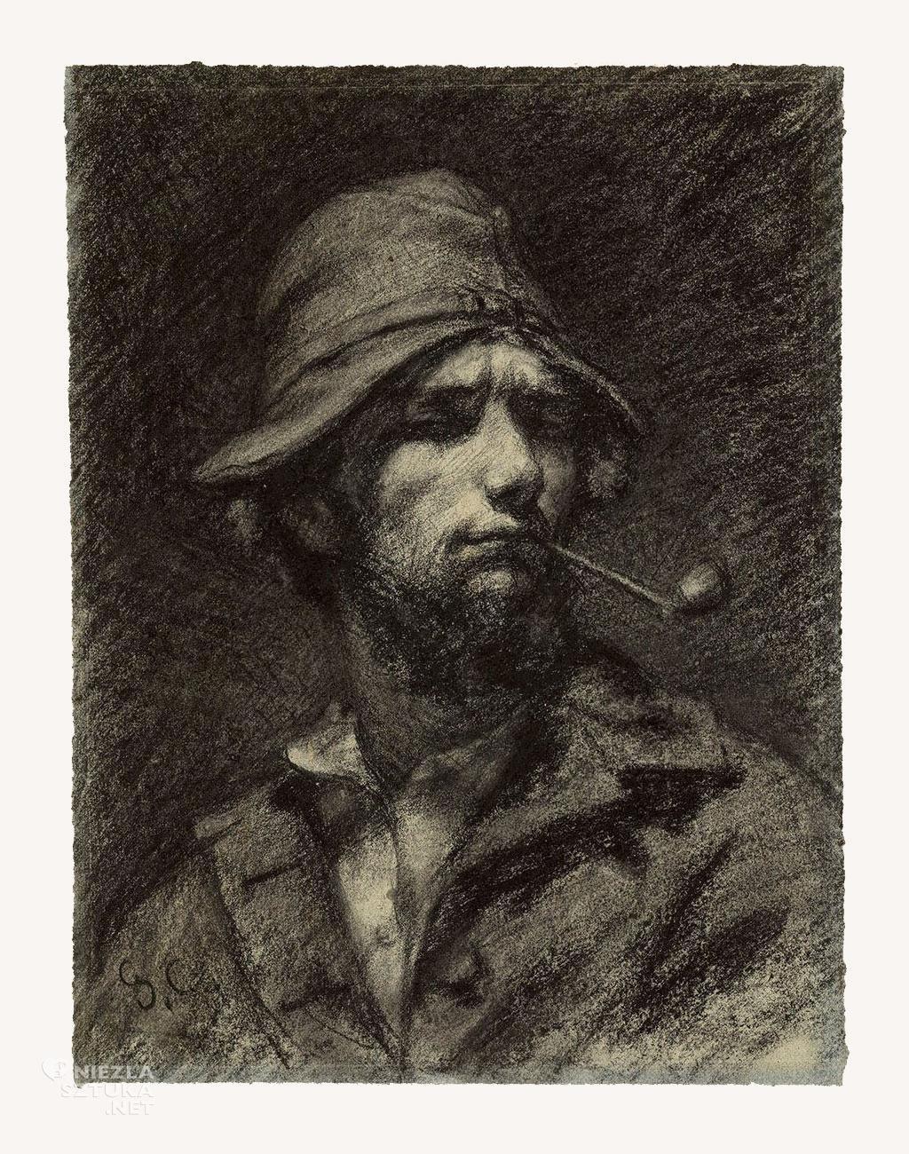 Gustave Courbet, Autoportret, mężczyzna z fajką, sztuka francuska, malarstwo francuskie, Niezła sztuka
