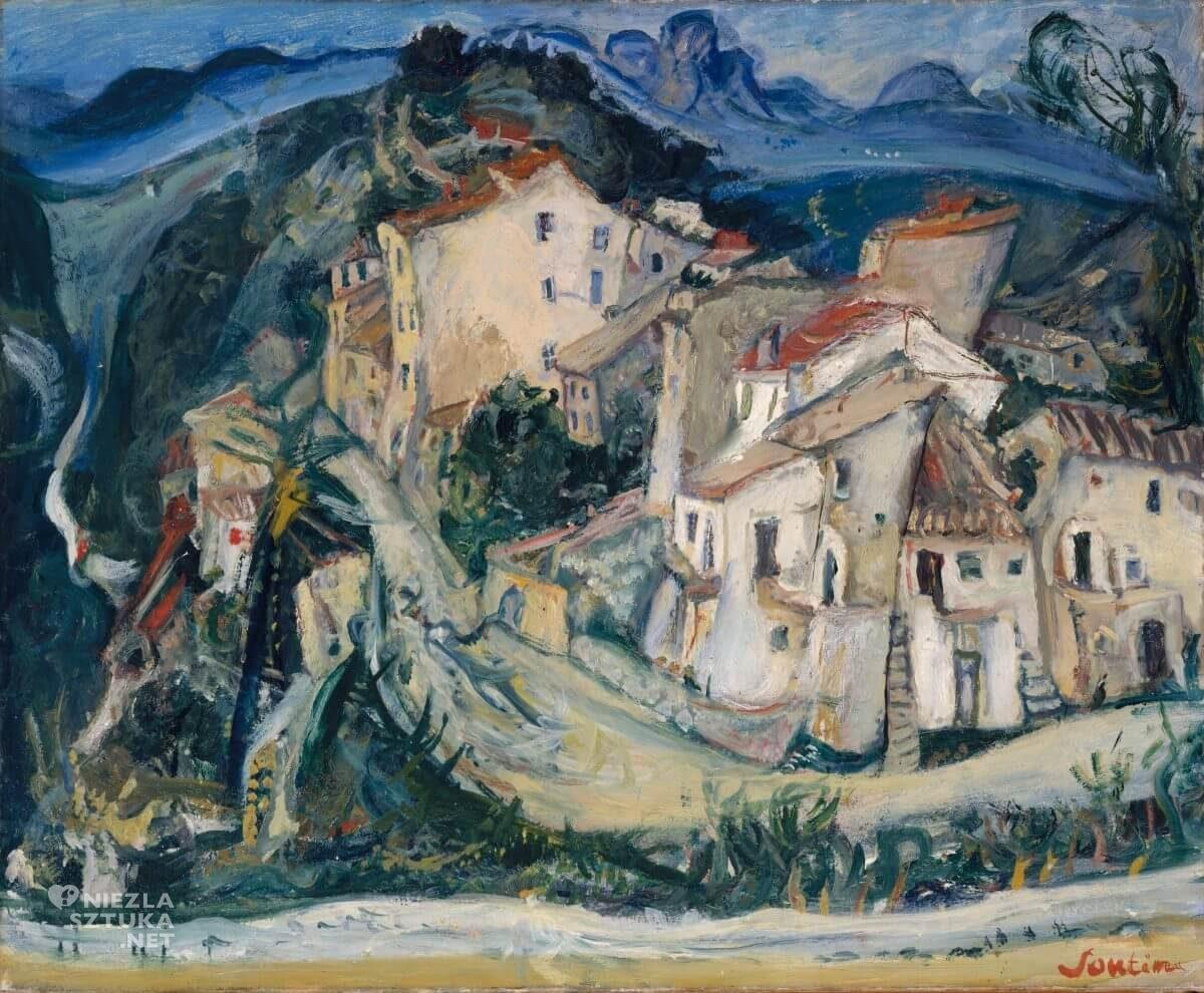 Chaim Soutine, Widok na Cagnes, krajobraz, sztuka francuska, żydowski malarz, Niezła Sztuka