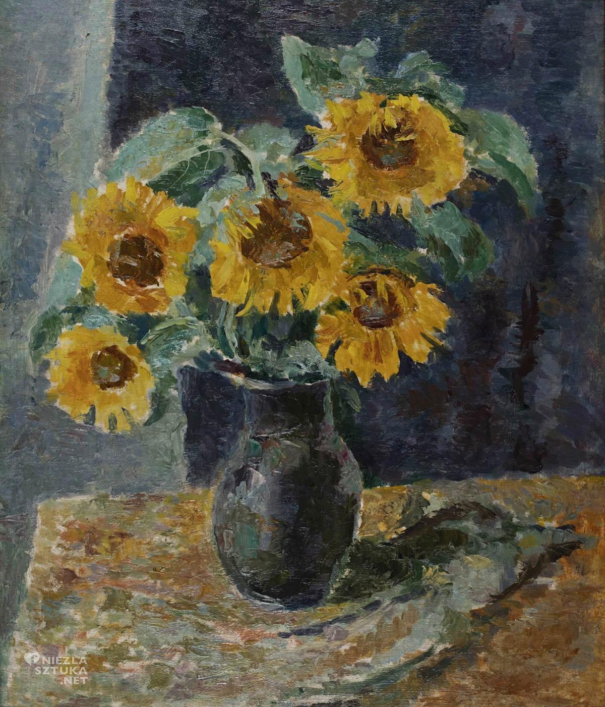 Symcha Trachter, Słoneczniki, malarstwo polskie, żydowski malarz, Niezła Sztuka