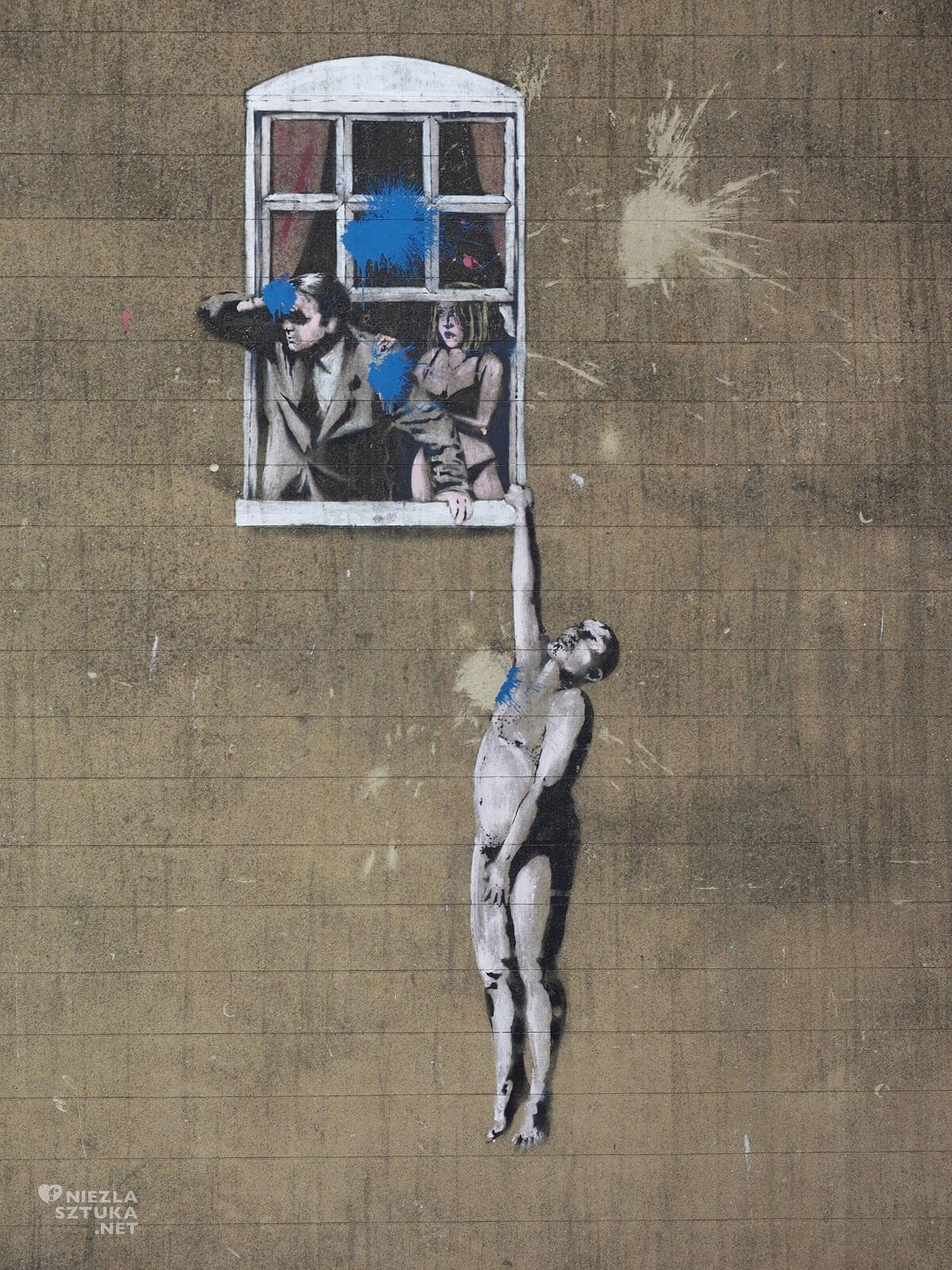 Banksy, Wiszący mężczyzna, Sztuka ulicy Cudzołożnej, Bristol, mural, street art, Niezła sztuka