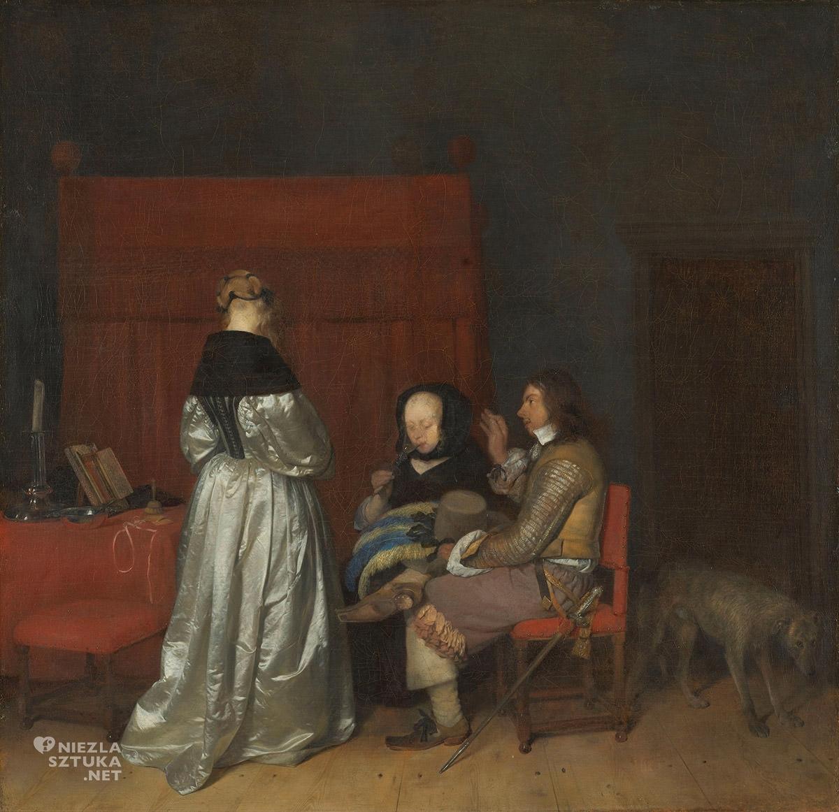 Gerard ter Borch, Towarzystwo we wnętrzu, napomnienie ojcowskie, malarstwo holenderskie, Niderlandy, Niezła sztuka