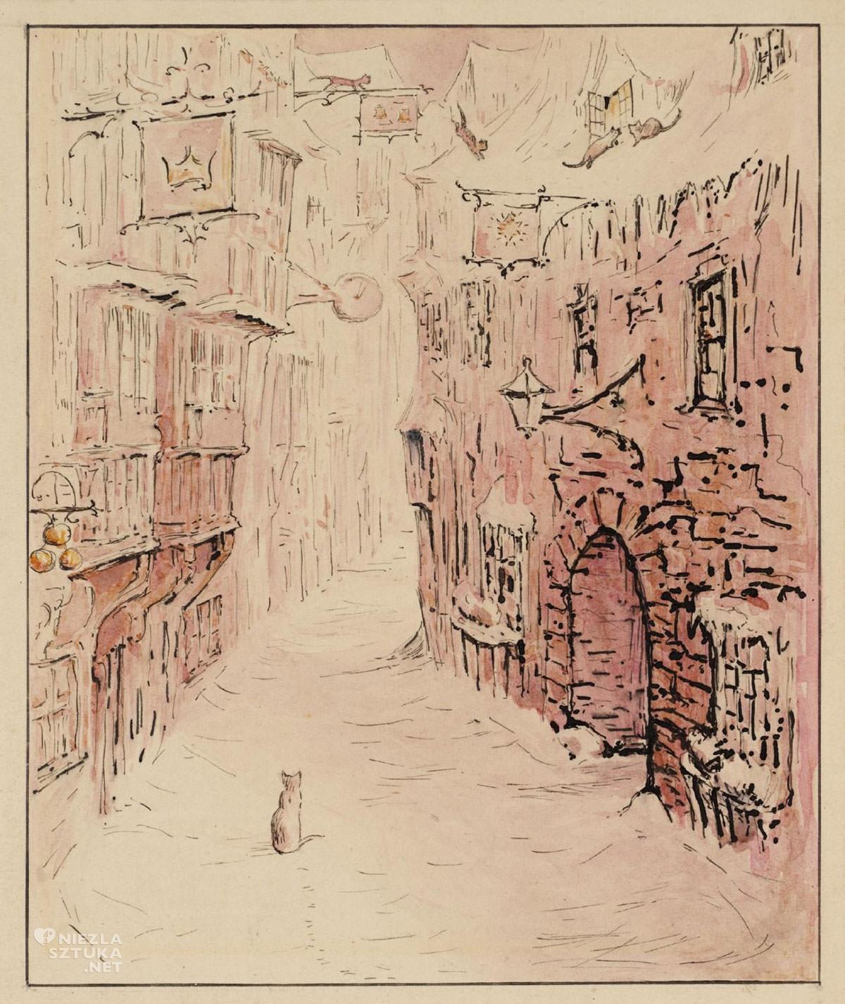Beatrix Potter, Simpkin na zaśnieżonej ulicy, ilustratorka, kobiety w sztuce, Niezła Sztuka