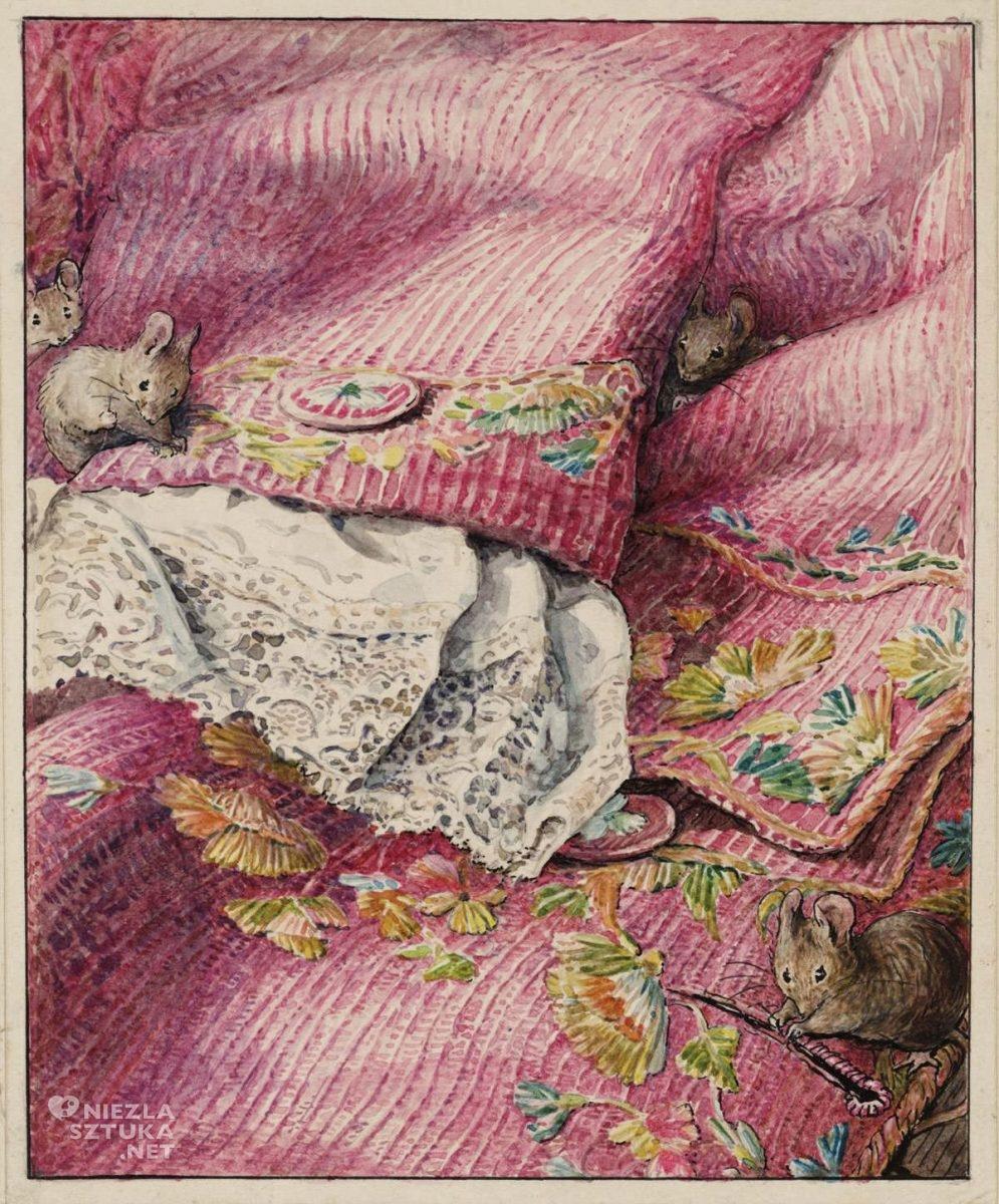 Beatrix Potter, Myszy zszywający dziury po guzikach, ilustratorka, kobiety w sztuce, Niezła Sztuka