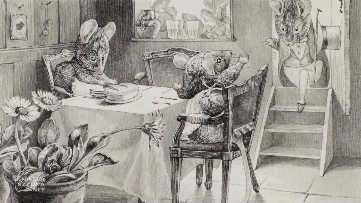 Beatrix Potter, Mouseland, kolacja w krainie myszy, ilustracja, kobiety w sztuce, Niezła Sztuka