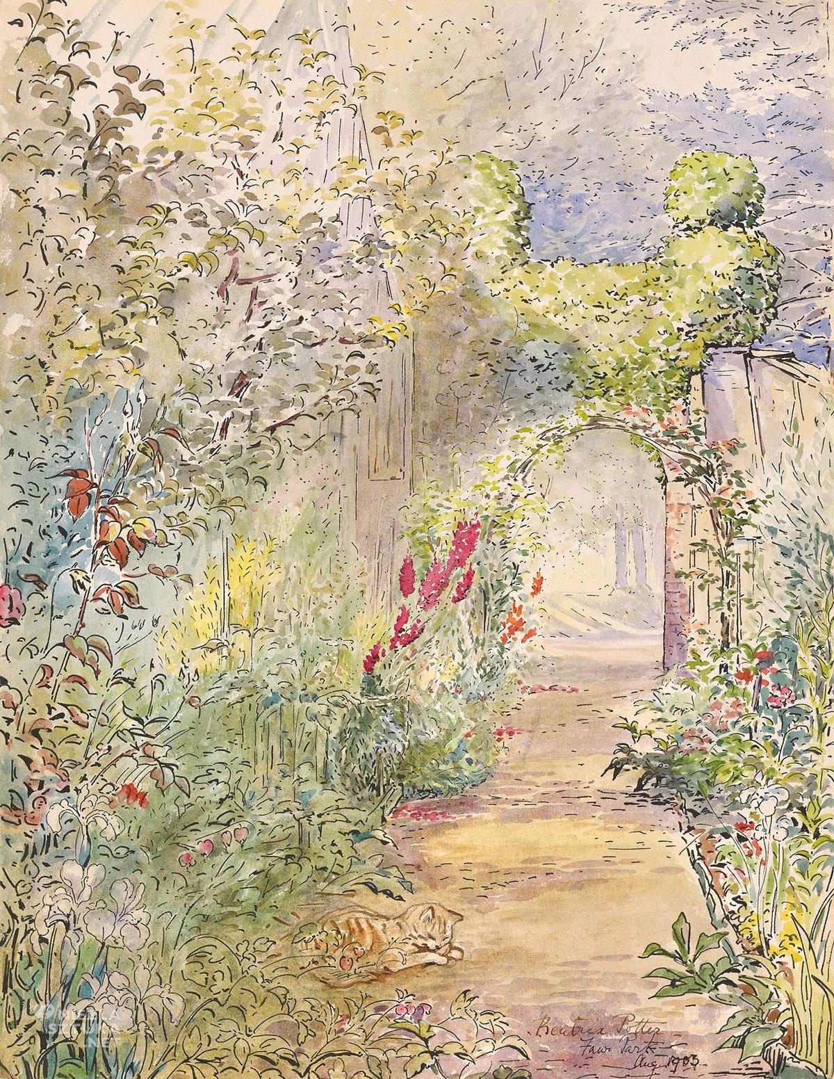 Beatrix Potter, Fawe Park Garden, akwarela, ilustratorka, kobiety w sztuce, Niezła Sztuka