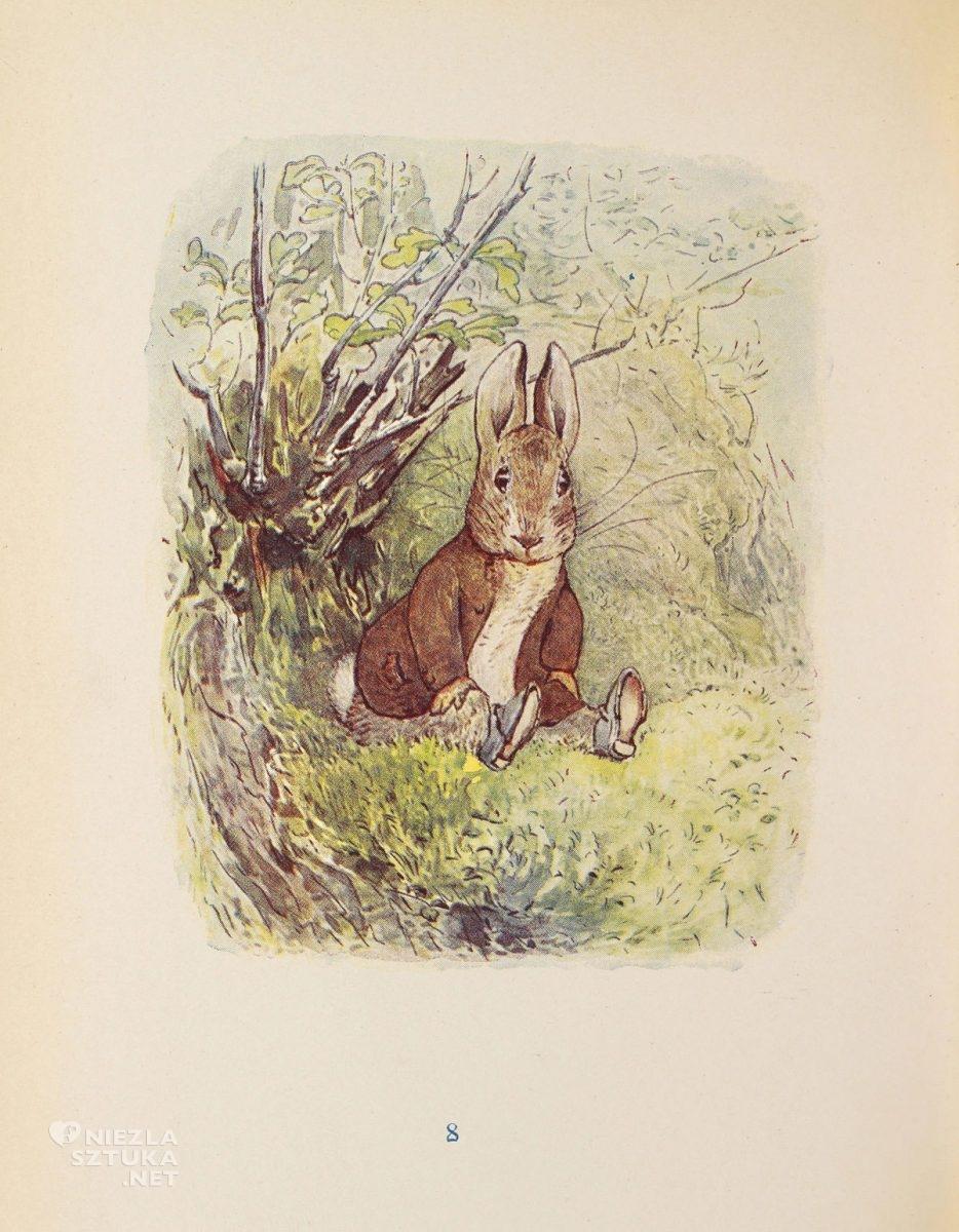 Beatrix Potter, ilustracja do książki, The Tale of Benjamin Bunny, ksiązki dla dzieci, ilustratorka, kobiety w sztuce, Niezła Sztuka