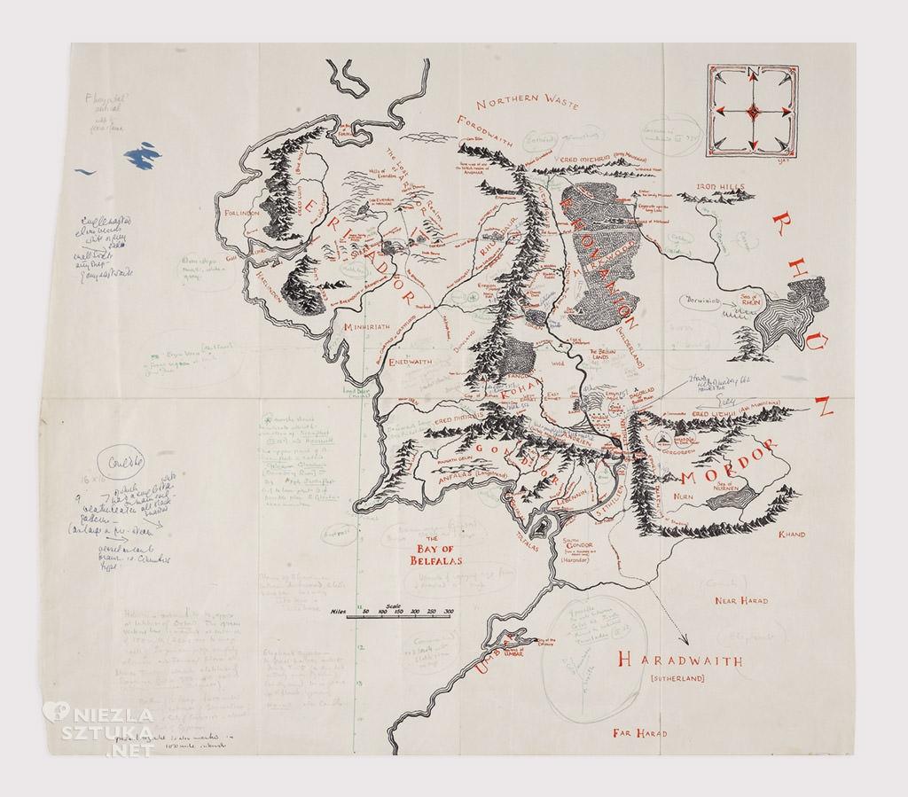 Tolkien, Mapa Śródziemia, ilustracja, Władcy Pierścienia, Hobbit, książka, Niezła Sztuka