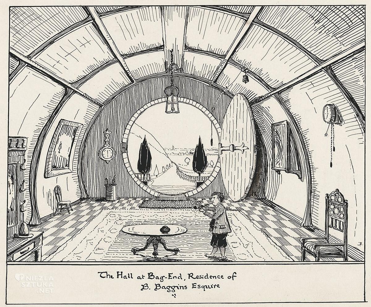 Tolkien, Bilbo Baggins, ilustracja, Hobbit, Niezła Sztuka