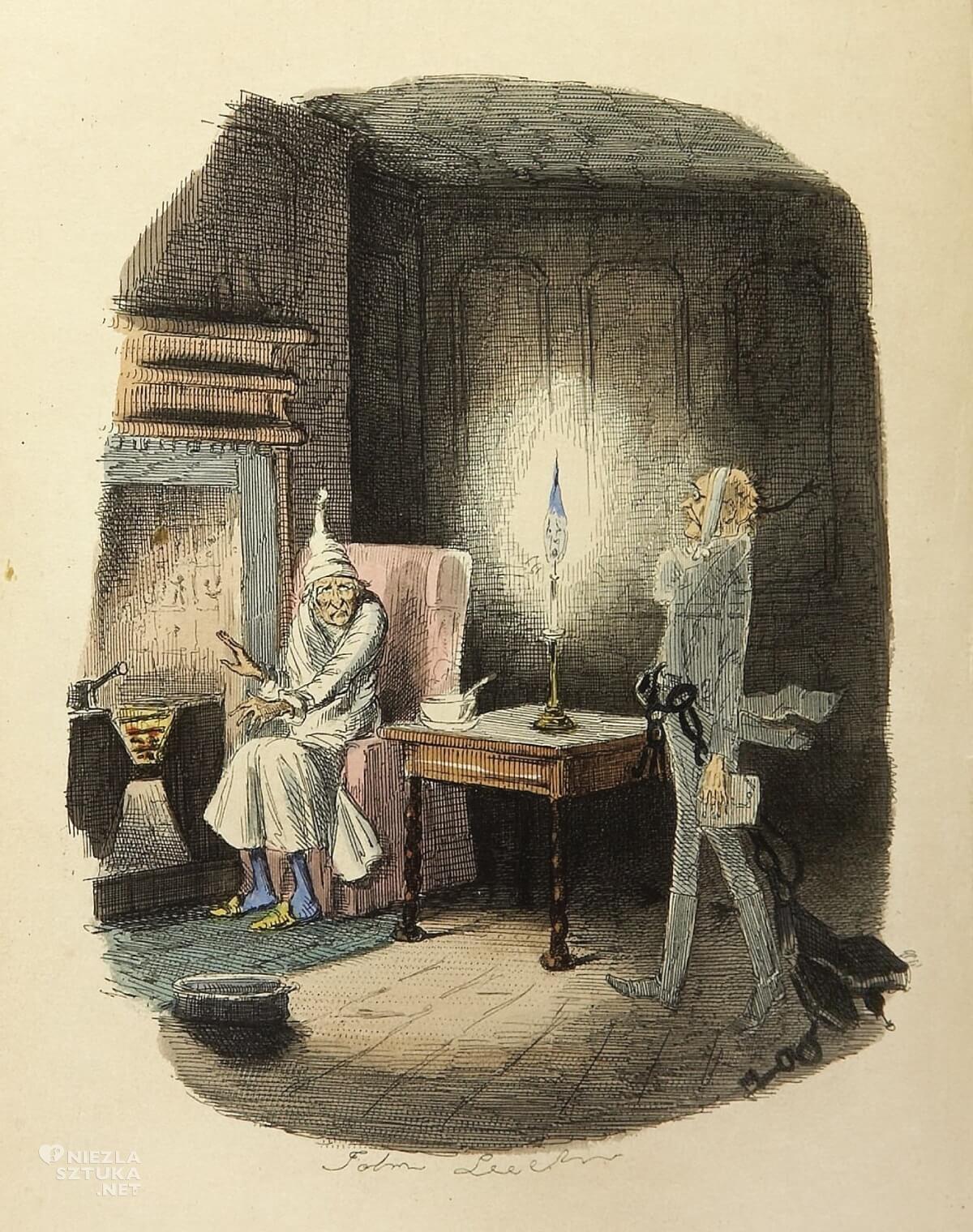 Opowieść wigilijna, ilustracja, literatura angielska, Charles Dickens, Niezła Sztuka