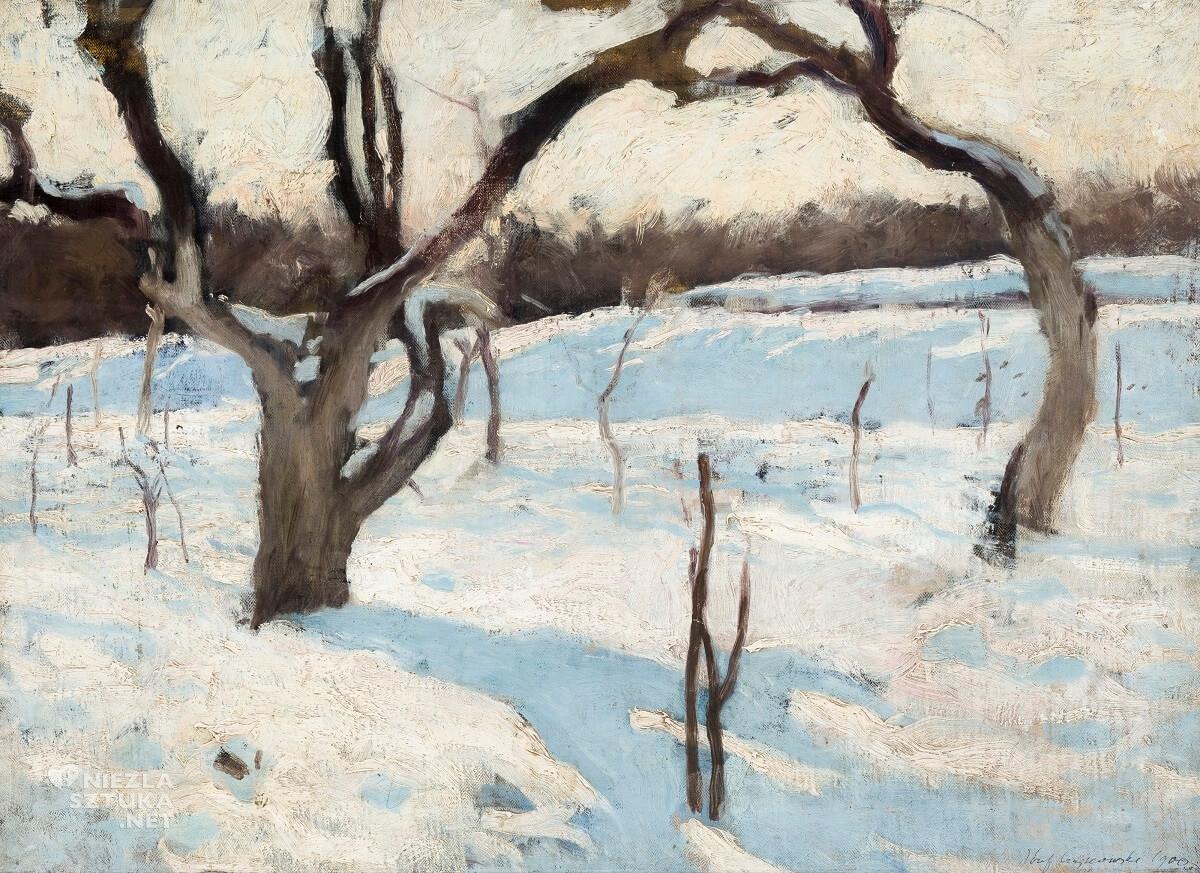 Józef Czajkowski, Sad w zimie, zima w sztuce, malarstwo polskie, Niezła Sztuka