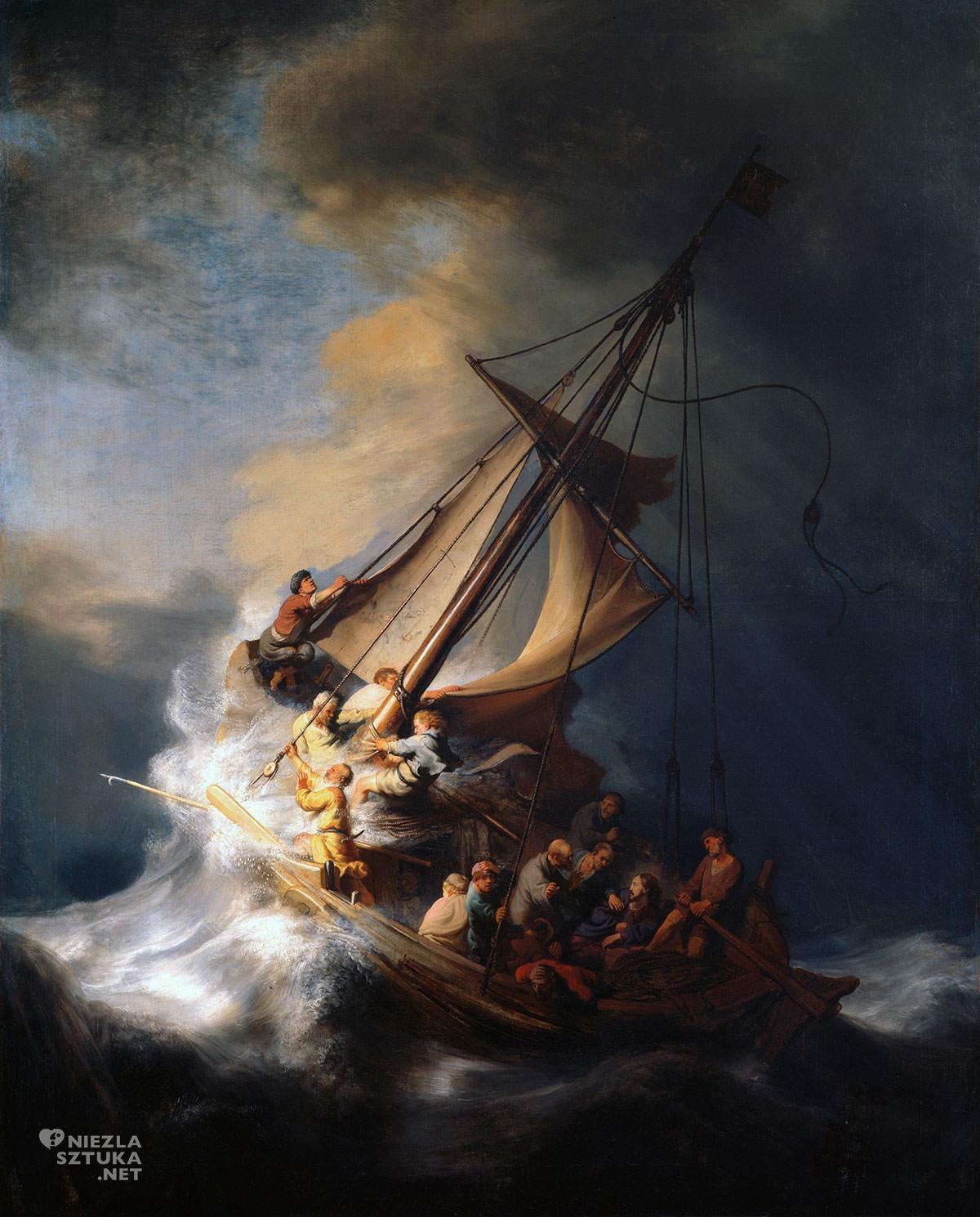 Rembrandt, Burza na Jeziorze Galilejskim, barok, malarstwo religijne, malarstwo niderlandzkie, Niezła Sztuka