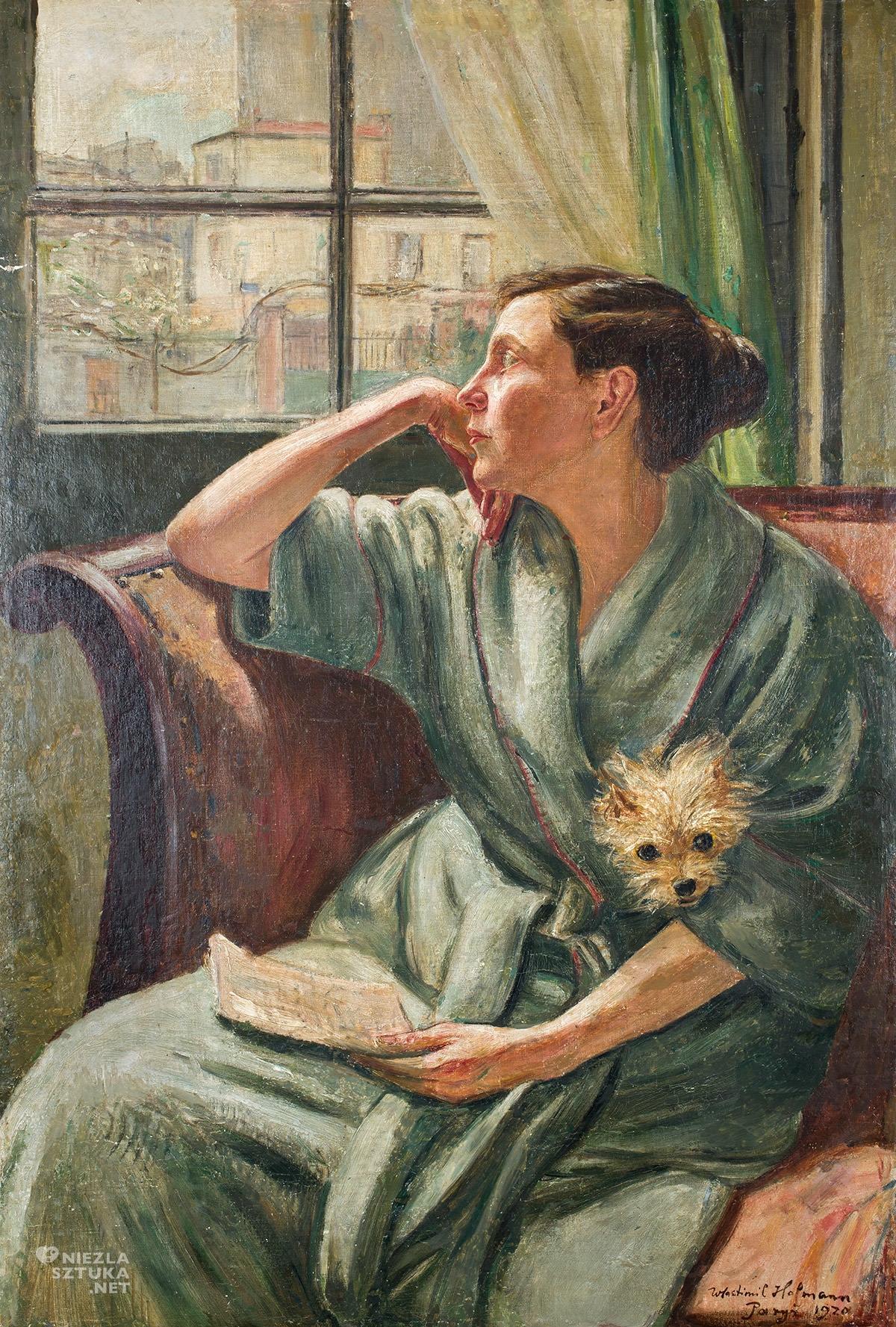 Wlastimil Hofman, Portret żony z pieskiem, sztuka polska, malarstwo polskie, pieski w sztuce, Wlastimilówka, Niezła Sztuka