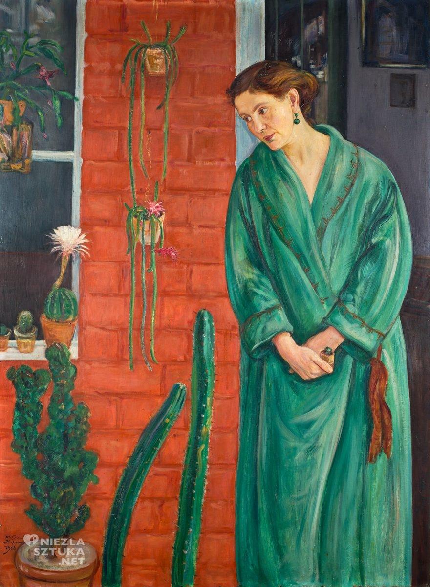Wlastimil Hofman, Portret żony z rozkwitłym kaktusem, sztuka polska, Wlastimilówka, Niezła Sztuka