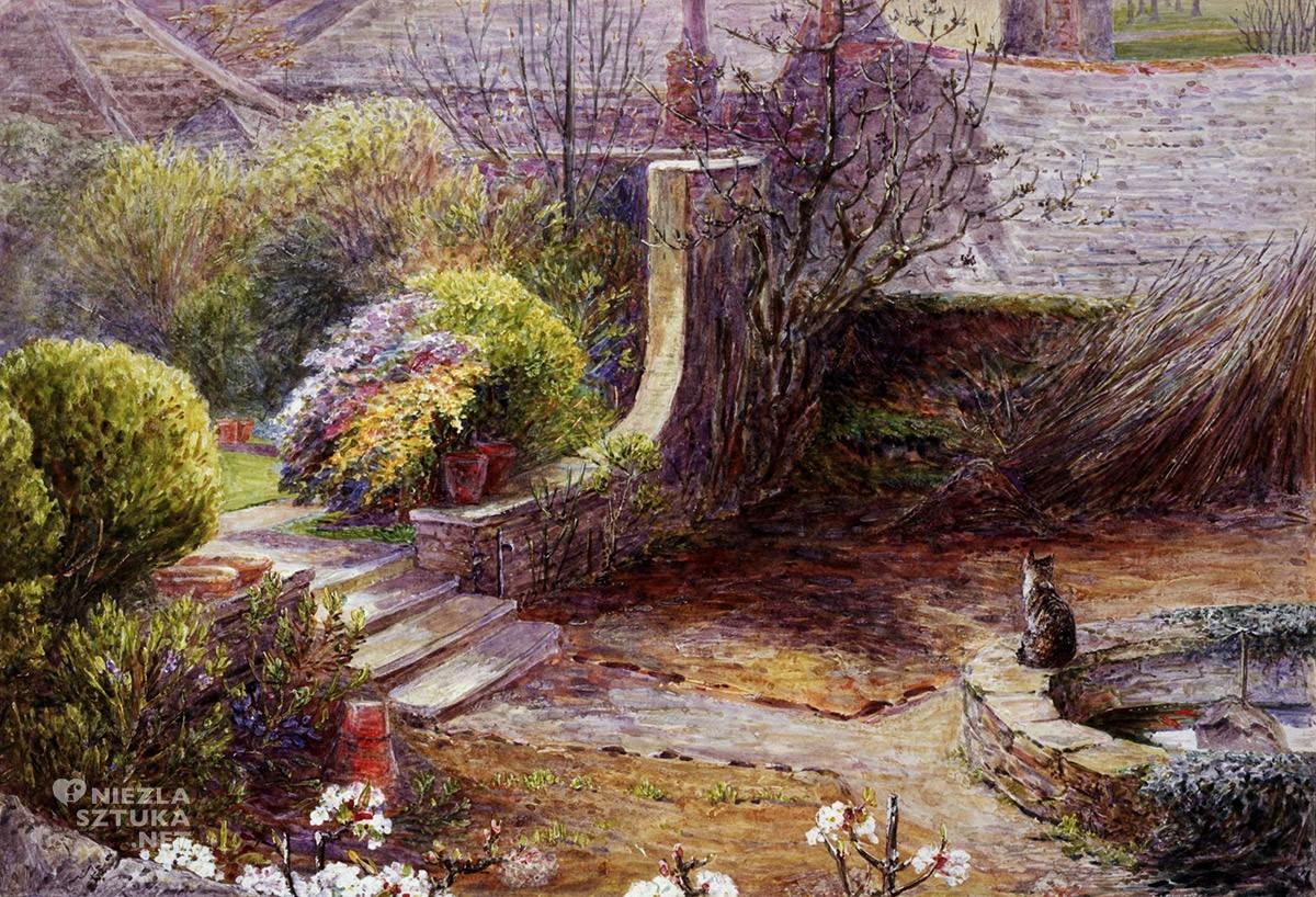 Beatrix Potter, Ogród w Tenby, z kotem i sadzawką, Anglia, kobiety w sztuce, Niezła Sztuka
