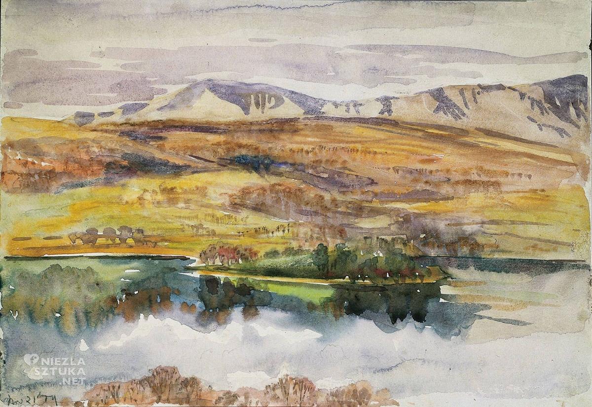 Beatrix Potter, Widok na Esthwaite Water, krajobraz, Anglia, kobiety w sztuce, Niezła Sztuka