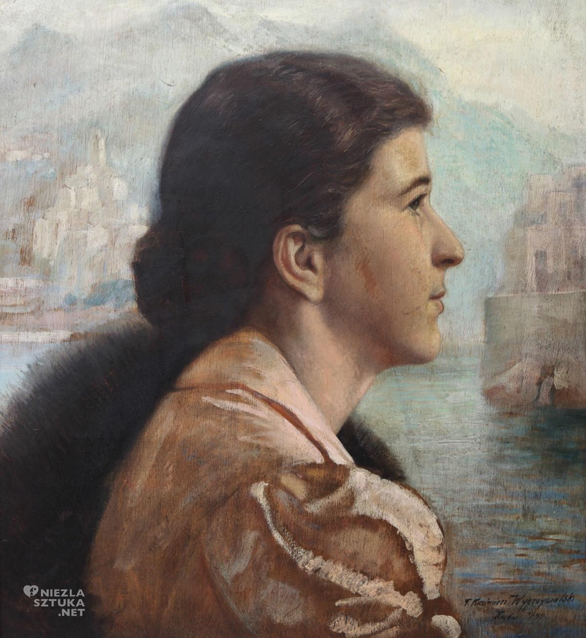 Feliks Kazimierz Wygrzywalski, Portret kobiety na tle włoskiego miasta na tle jeziora Como, róża wygrzywalska, niezła sztuka