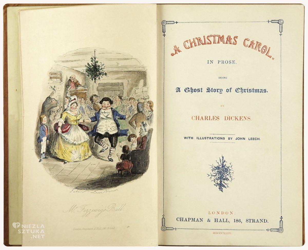 John Leech, ilustracja, Opowieść wigilijna, Charles Dickens, literatura angielska, Niezła Sztuka