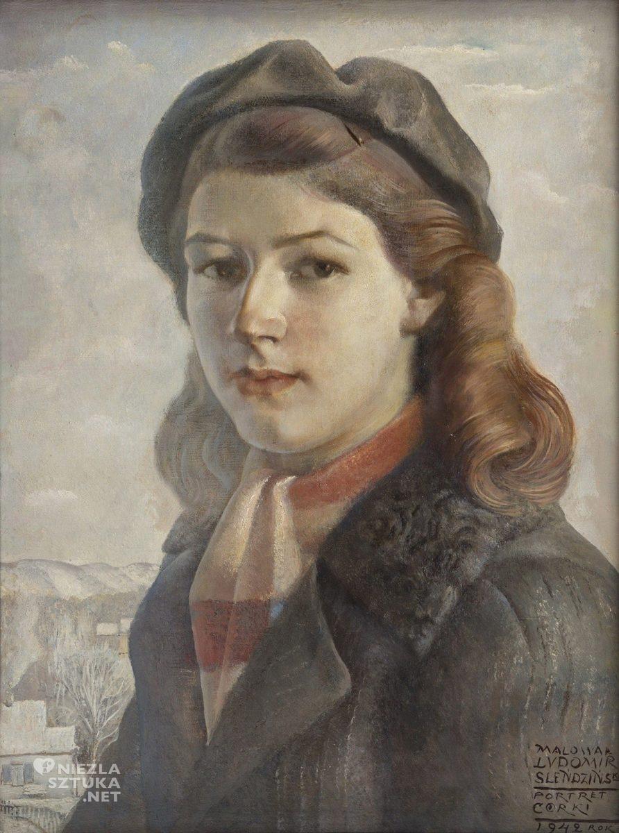 Ludomir Sleńdziński, Portret córki, sztuka polska, malarstwo polskie, Niezła Sztuka