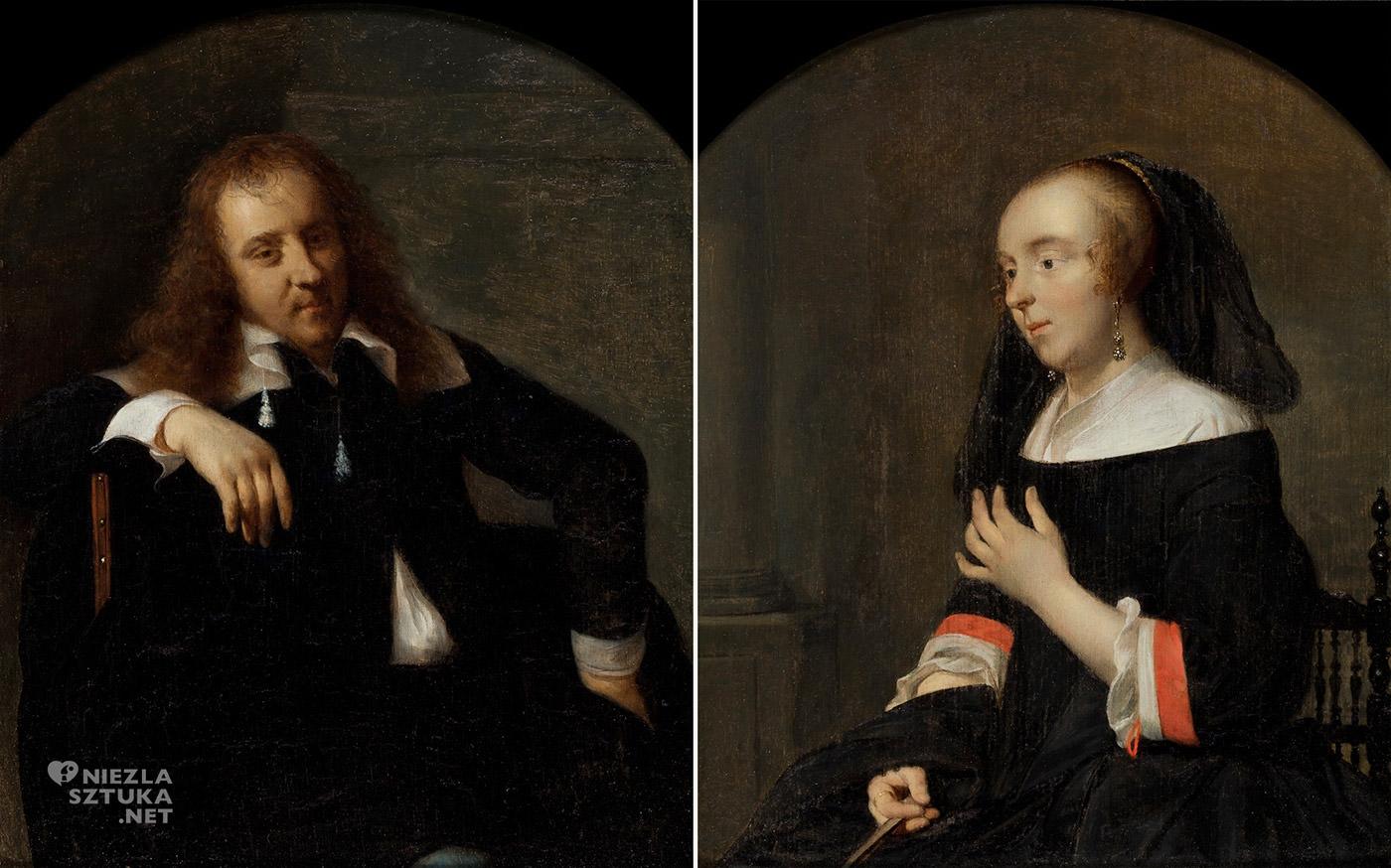 Gabriël Metsu, Autoportret, Portret żony artysty, Isabella de Wolff, sztuka niderlandzka, Niezła Sztuka