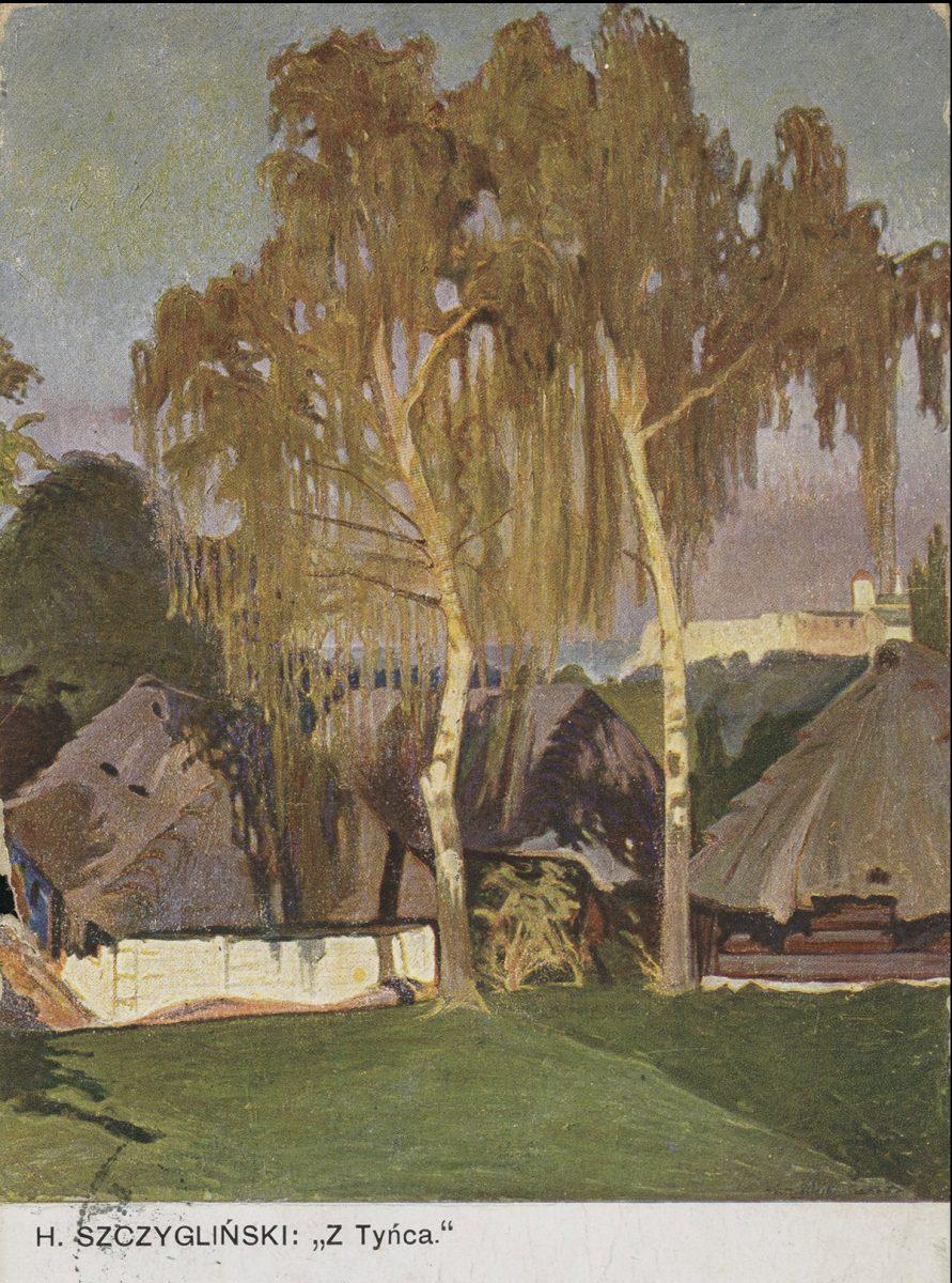 Pocztówka według obrazu Henryka Szczyglińskiego, Tyniec, sztuka polska, Niezła Sztuka