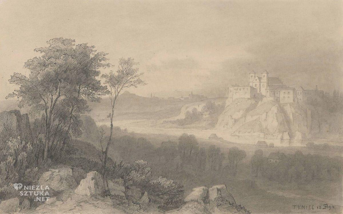 Alfred Schouppé, Widok klasztoru w Tyńcu nad Wisłą, rysunek, pejzaż, Niezła Sztuka