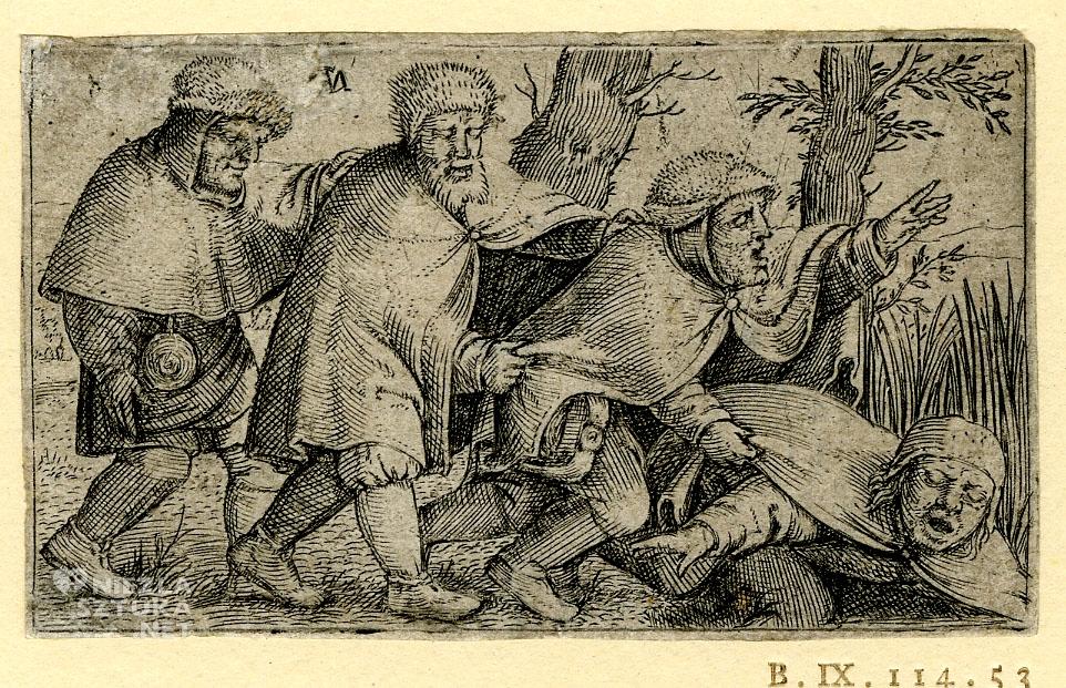 Cornelis Massijs, Ślepcy, grafika, sztuka niderlandzka, Niezła Sztuka