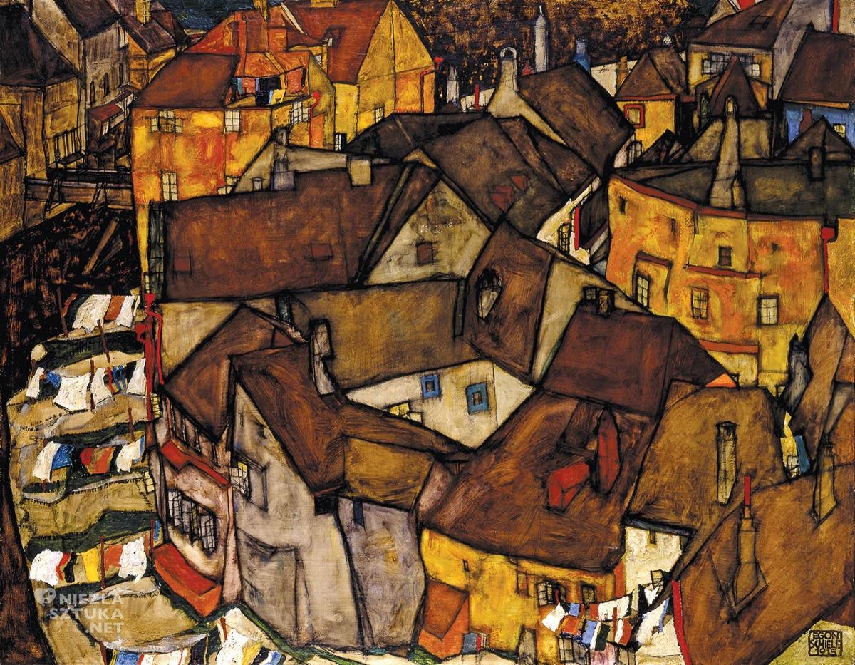 Egon Schiele, Krumau, krajobraz miejski, sztuka austriacka, Niezła Sztuka