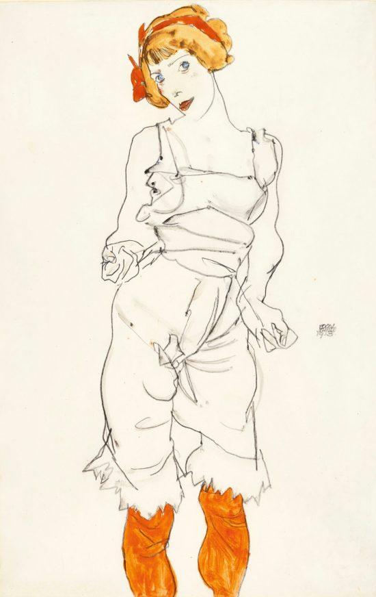 Egon Schiele, Kobieta w bieliźnie i rajstopach, Wally Neuzil, szkic, sztuka austriacka, Niezła Sztuka