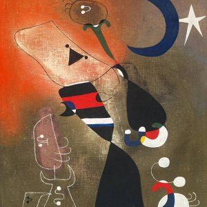 Joan Miró, Kobieta i ptak w świetle księżyca, sztuka współczesna, sztuka hiszpańska, sztuka katalońska, Niezła Sztuka