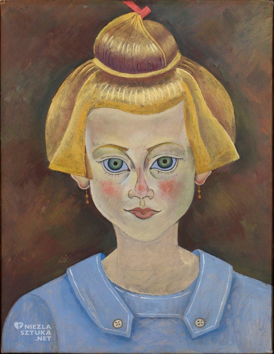 Joan Miró, Portret młodej dziewczyny, sztuka hiszpańska, sztuka katalońska, Barcelona, sztuka współczesna, Niezła Sztuka