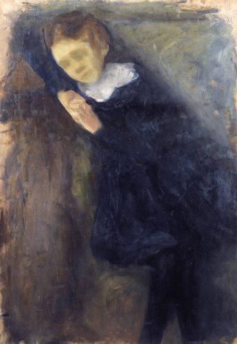 Irena Weiss, Aneri, Portret dziewczynki w granatowej sukience, sztuka polska, kobiety w sztuce, Niezła Sztuka
