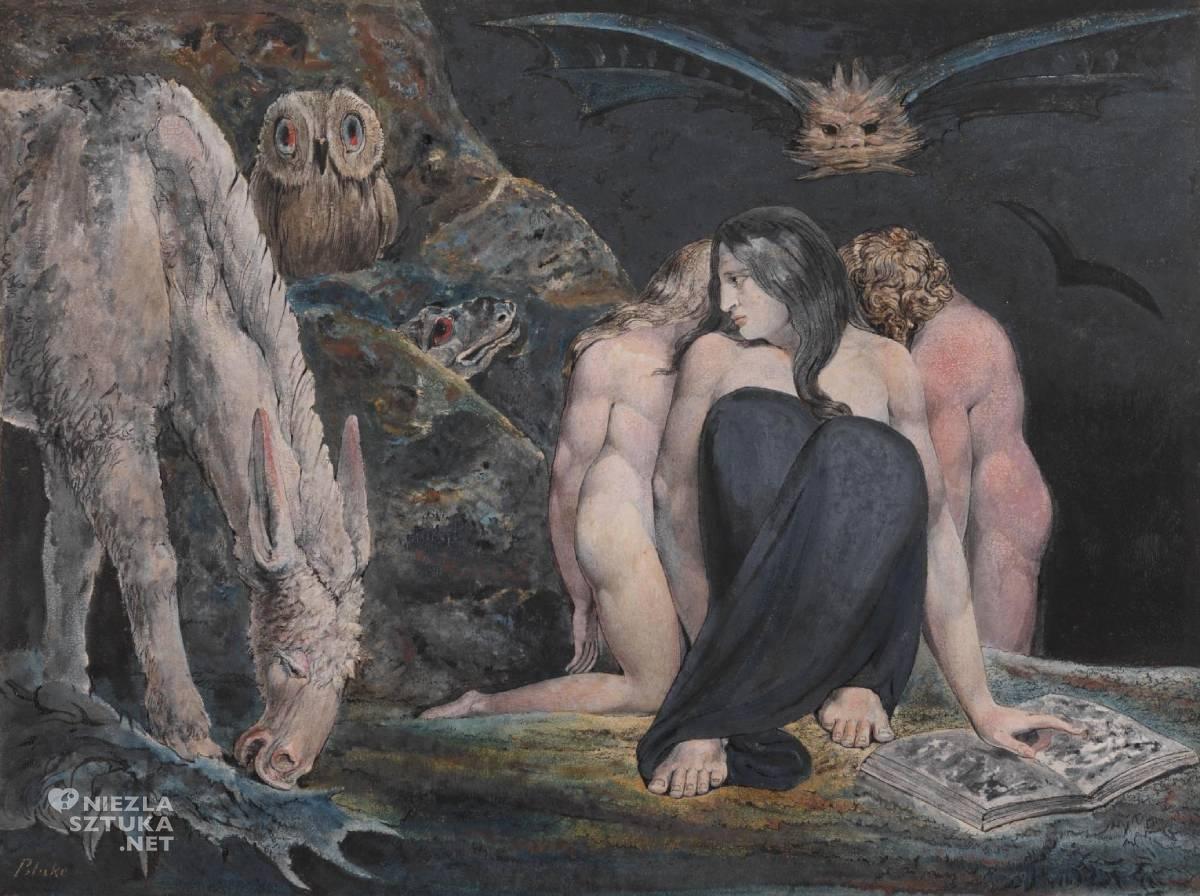 William Blake, The Night of Enitharmon's Joy, Hecate, sztuka angielska, malarstwo, Niezła Sztuka