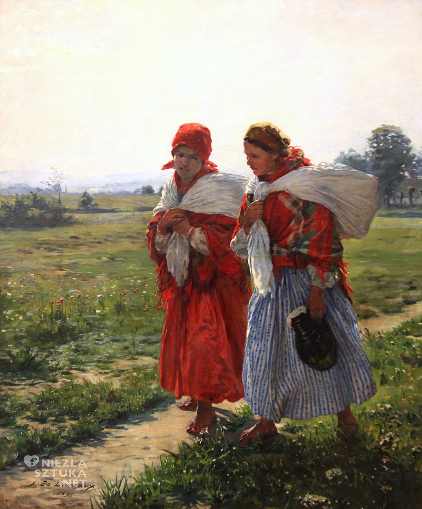 Ludwik de Laveaux, Dwie wiejskie dziewczyny, malarstwo polskie, malarstwo XIX w., Niezła Sztuka
