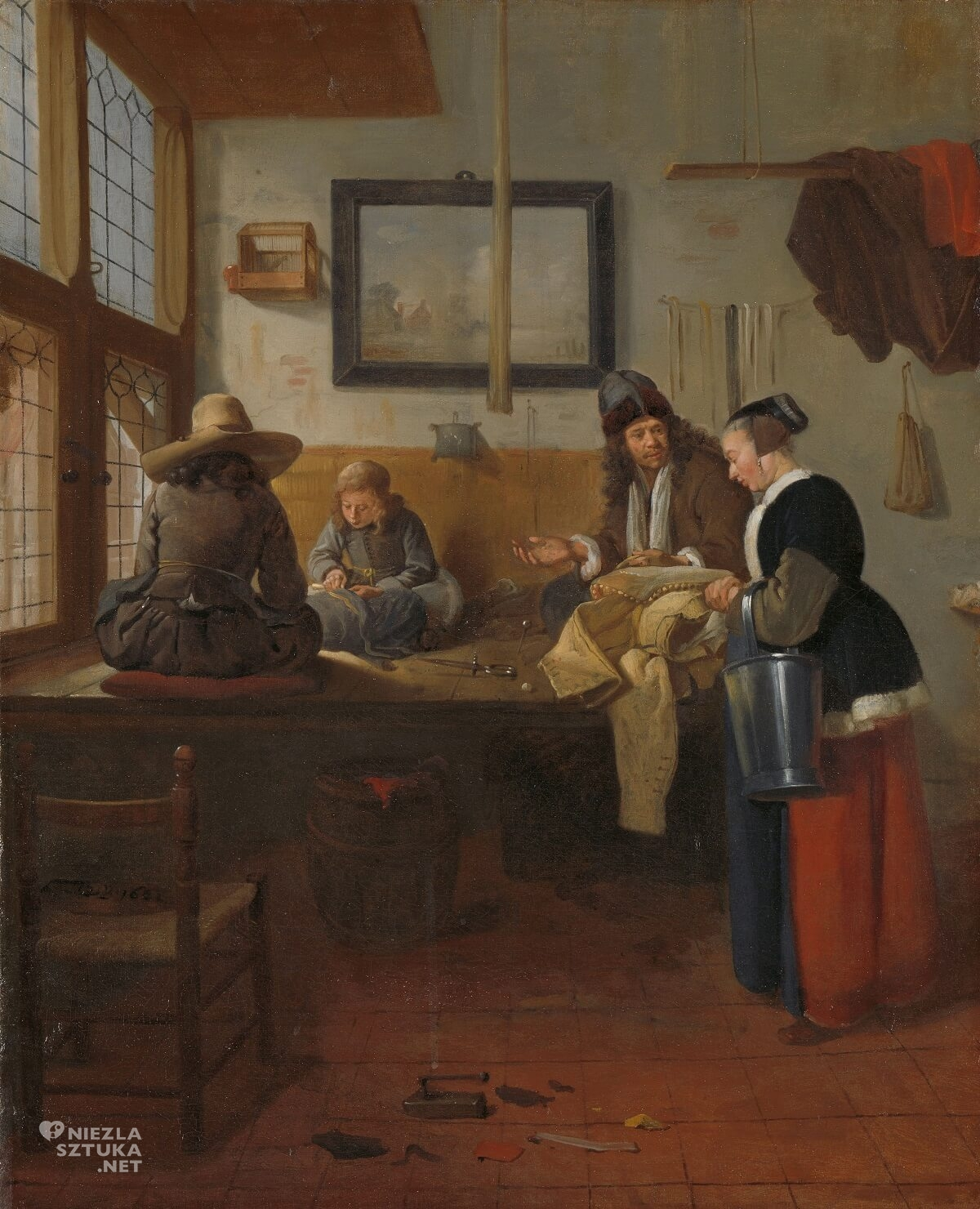 Quiringh van Brekelenkam, Wnętrze krawieckiego warsztatu, malarz holenderski, sztuka niderlandzka, Niezła Sztuka