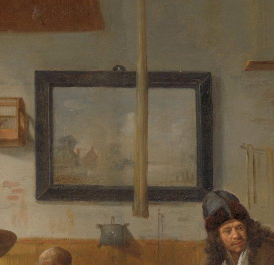 Quiringh van Brekelenkam, Wnętrze krawieckiego warsztatu, malarz holenderski, sztuka niderlandzka, detal, Niezła Sztuka