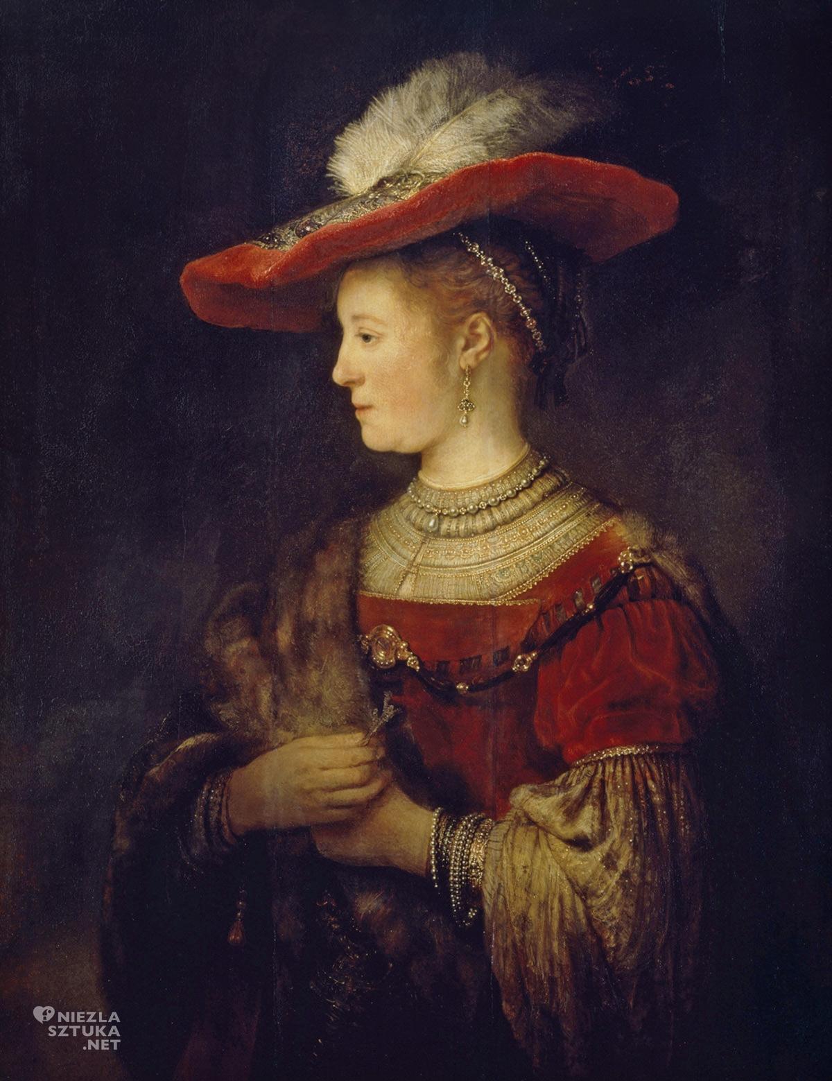 Rembrandt, Saskia w czerwonym kapeluszu, sztuka niderlandzka, żona artysty, Niezła Sztuka