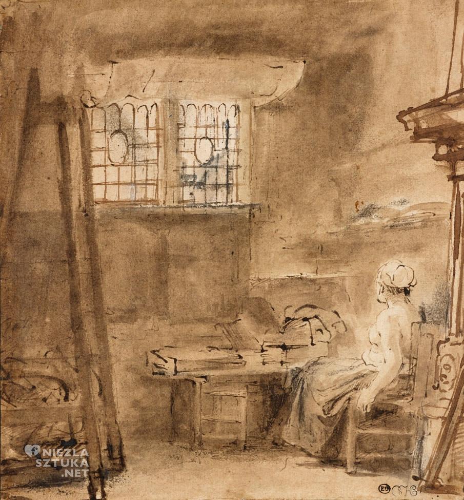 Rembrandt, Rembrandt van Rijn, Pracownia artysty, szkic, sztuka niderlandzka, Niezła Sztuka