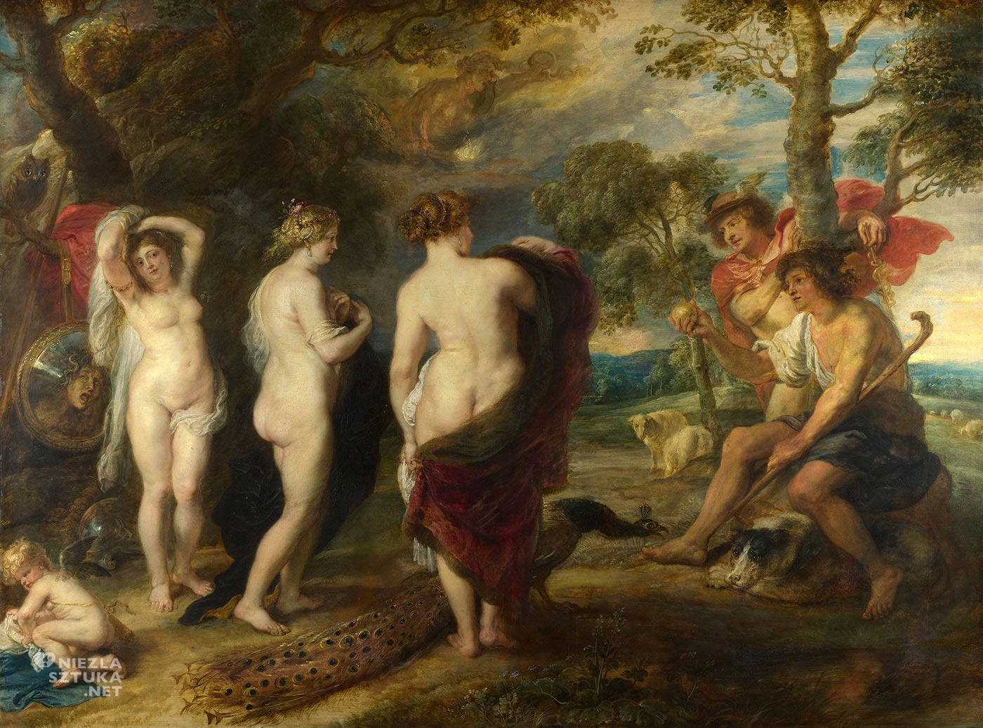 Peter Paul Rubens, Sąd Parysa, malarstwo flamandzkie, mitologia, Niezła Sztuka